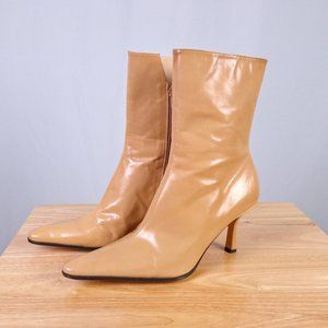 Nine West Tan Slim Leather Ankle Boot 8M